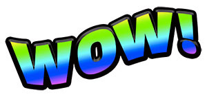 The word WOW in gradient blue green colors